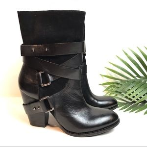 GUESS Suede and Leather Harness Strap Heel Boots